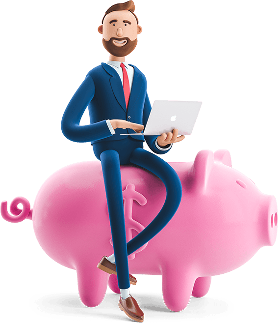 Billy paid bills online while sitting on a pig